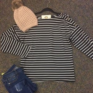 Sweaters - Black and White Stripe Top